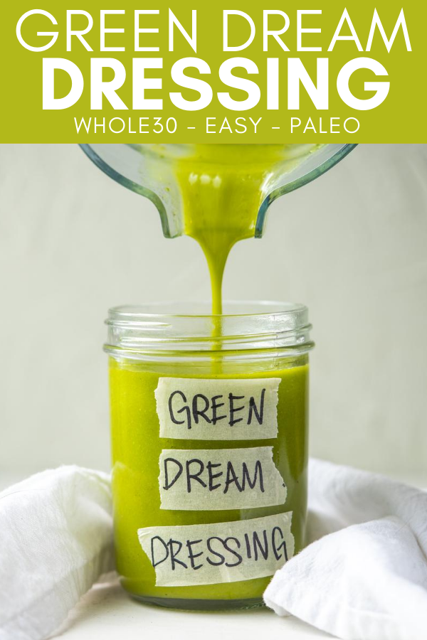 Pinterest image for pining green dream dressing