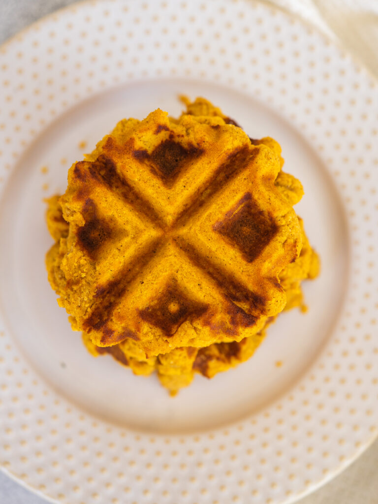 above view of paleo pumpkin spice waffles