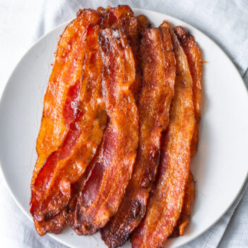 Above view of crispy bacon on a plate