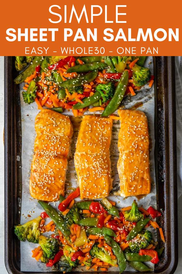 pinterest image for salmon sheet pan dinner