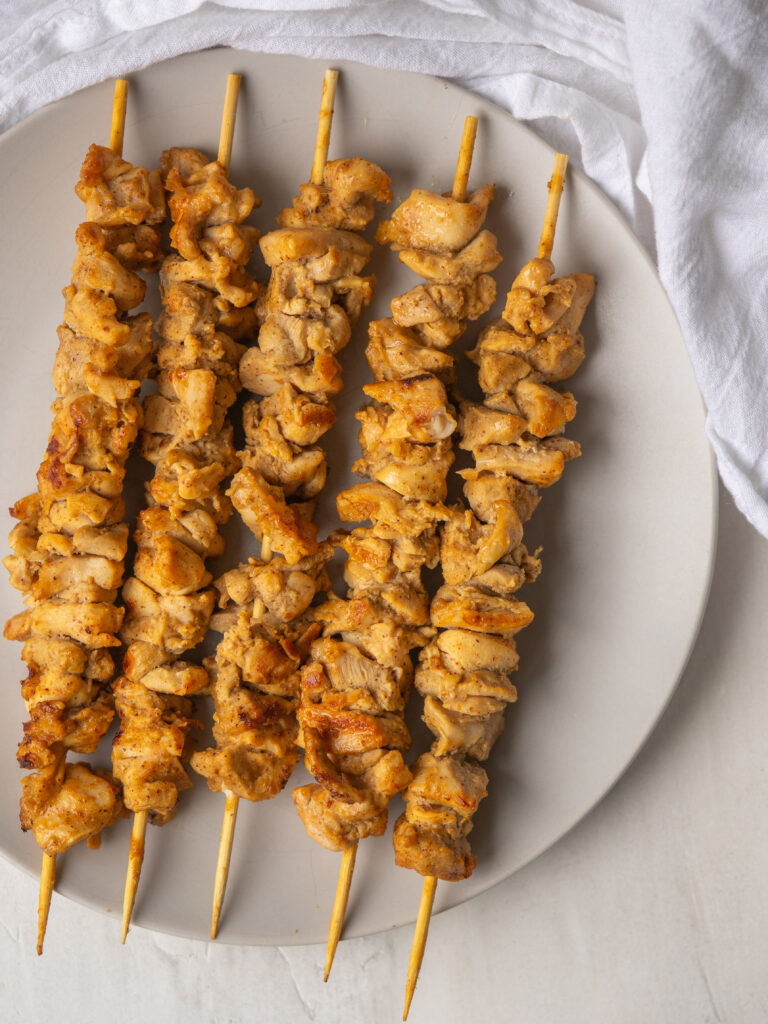 Above view of whole30 almond butter skewers