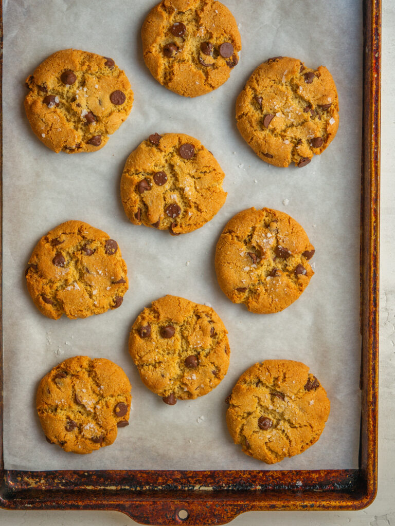Above view of grain free cookies on  a baking sheet