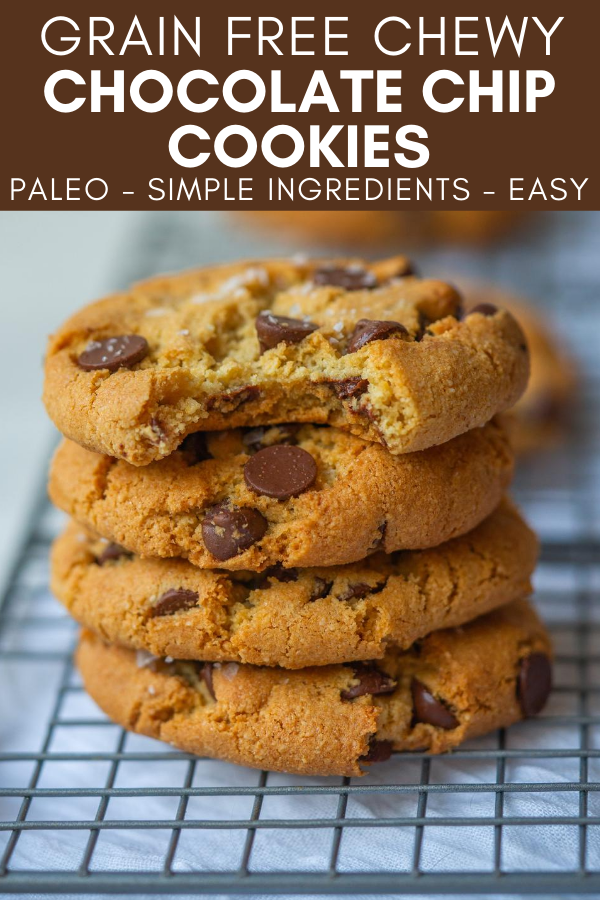Image for pinning Grain Free Chewy Chocolate Chip Cookies recipe on pinterest