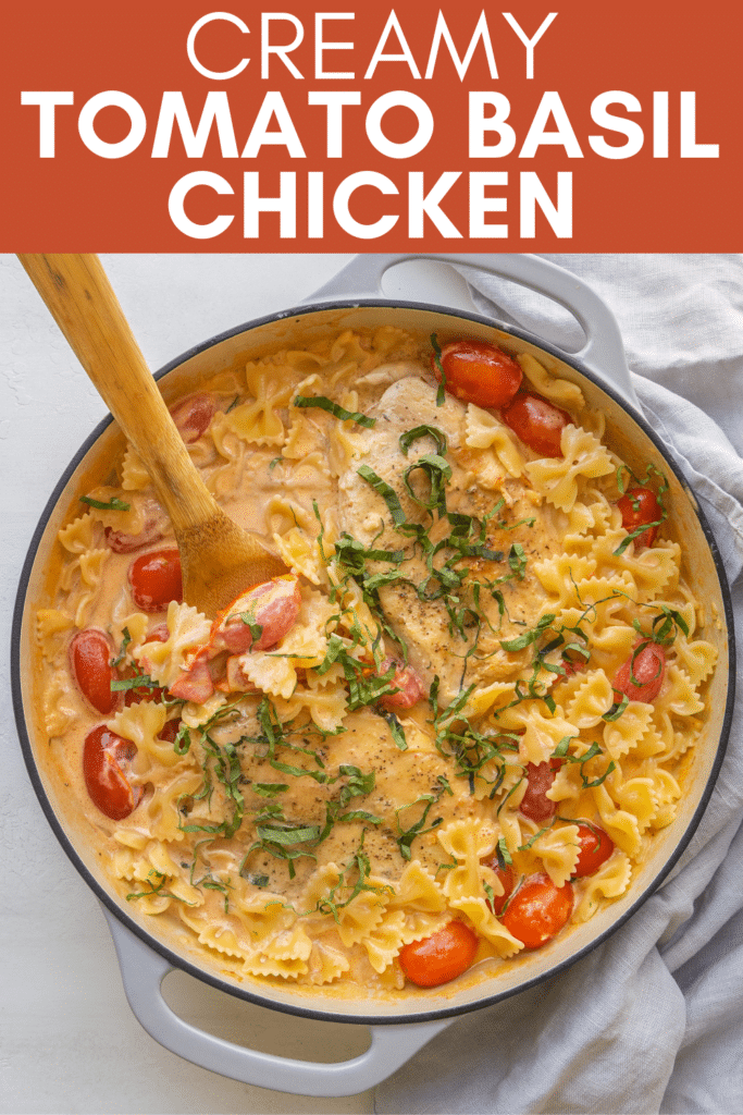 Image for pinning Creamy Tomato Basil Chicken recipe on Pinterest