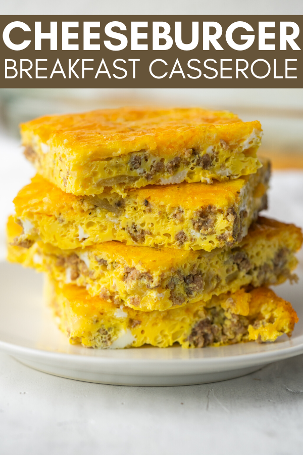 Image for pinning the Cheeseburger Breakfast Casserole recipe on Pinterest