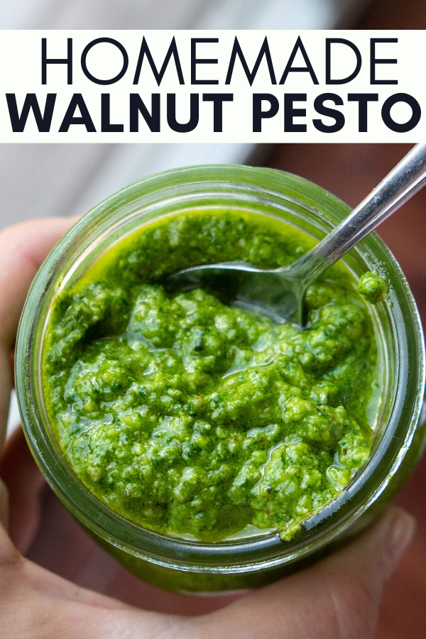 Image for pining Homemade Walnut Pesto Recipe on pinterest
