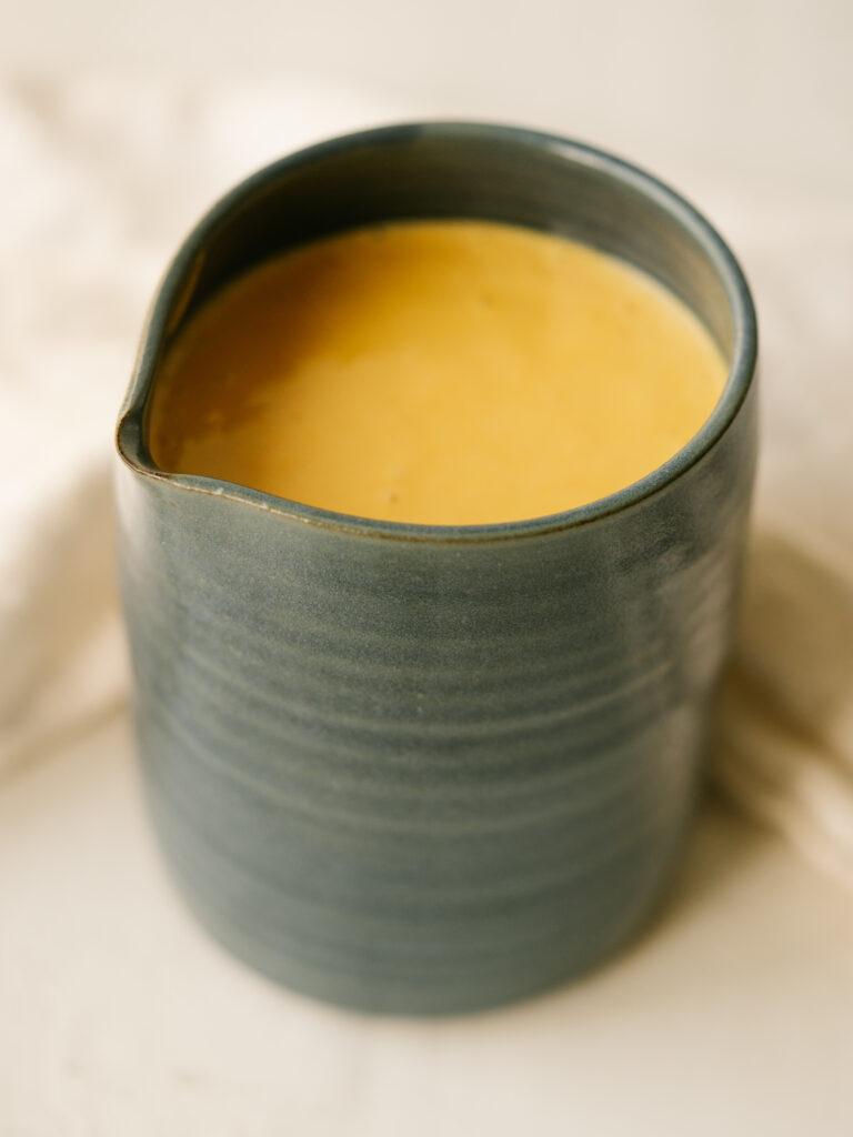 Three quarter view of jar of homemade Chick-fil-A sauce