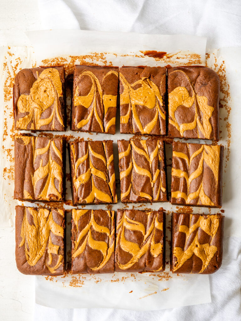 Above view of flourless sweet potato brownies cut into squares