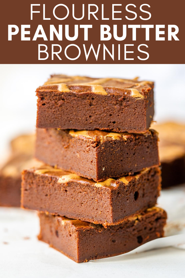 Image for pinning Flourless Peanut Butter Brownies recipe on Pinterest