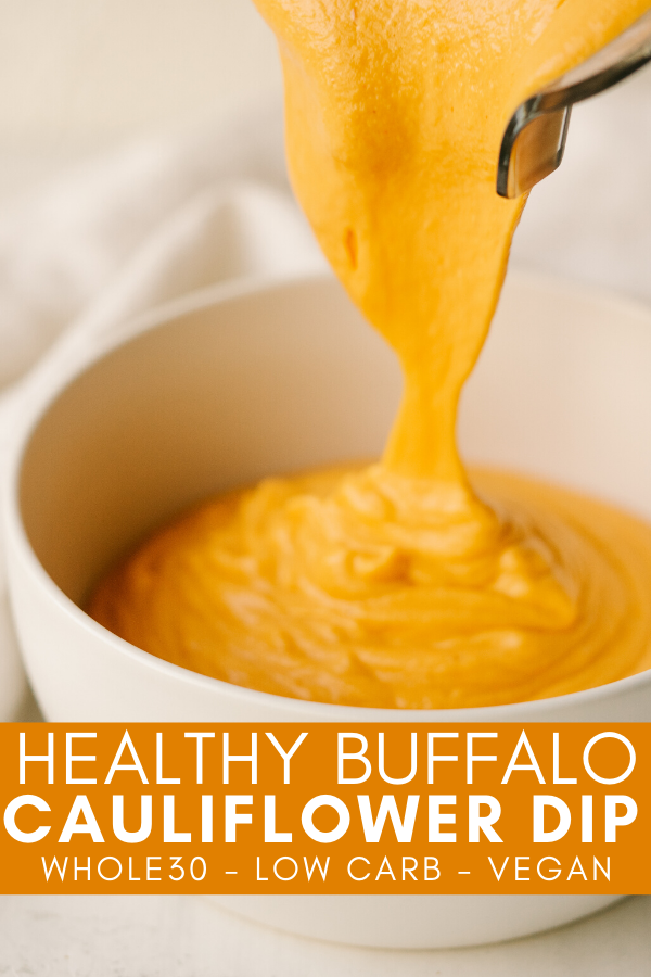 Image for pinning Healthy Buffalo Cauliflower Dip recipe on Pinterest