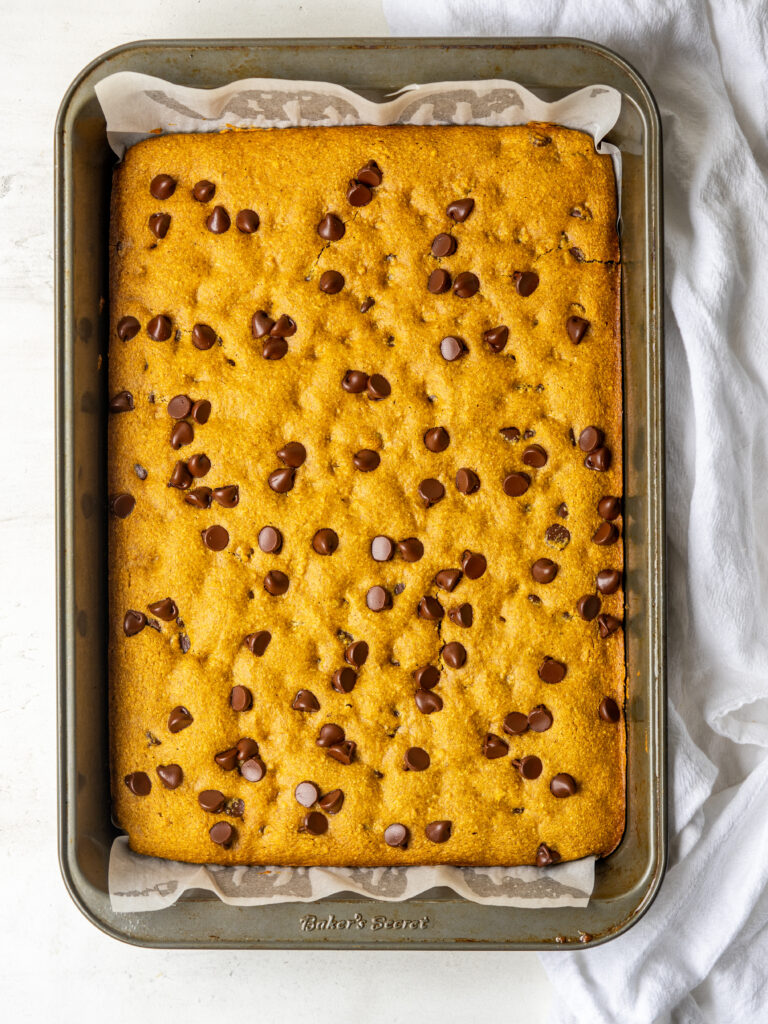 Above view of sheet pan of Pumpkin Oat Chocolate Chip Cookie Bars