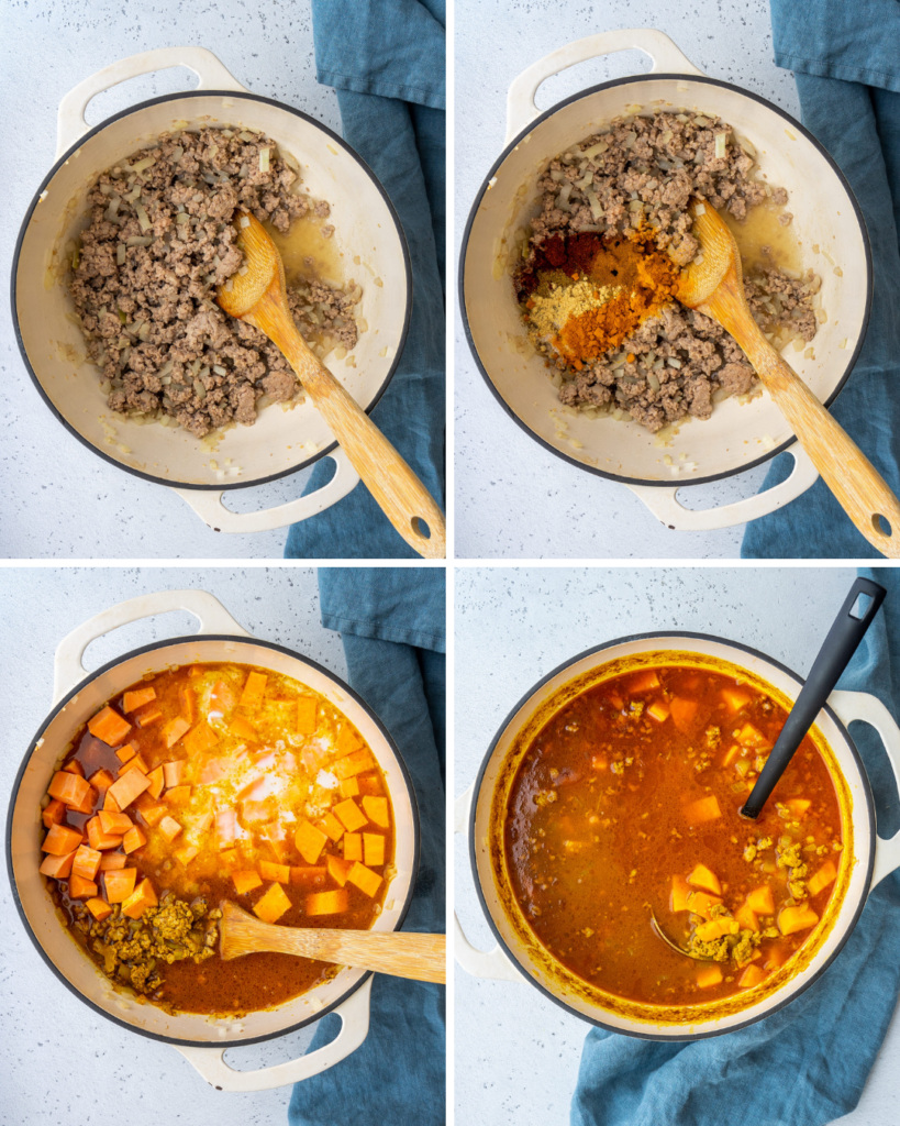 step by step pictures for how to make the sweet potato curry soup