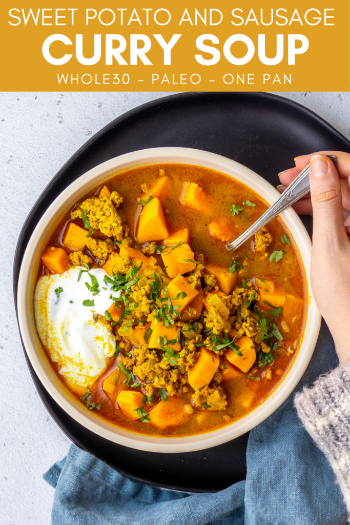 pinterest image for sweet potato and sausage curry soup
