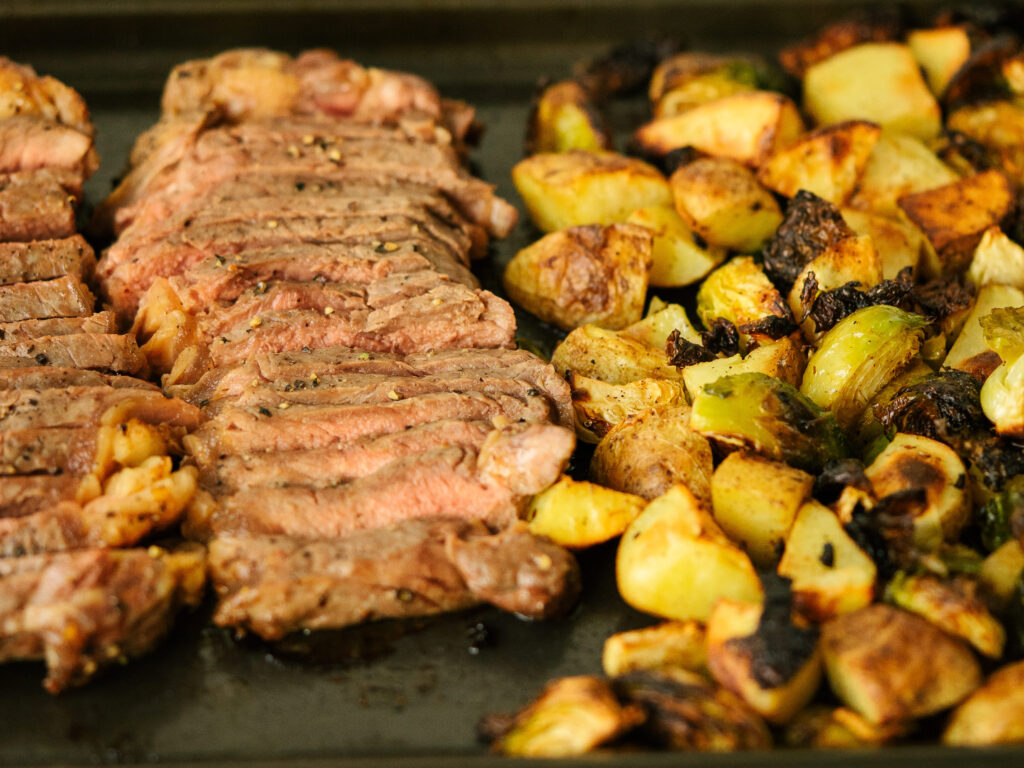 close up of sliced steak and potatoes