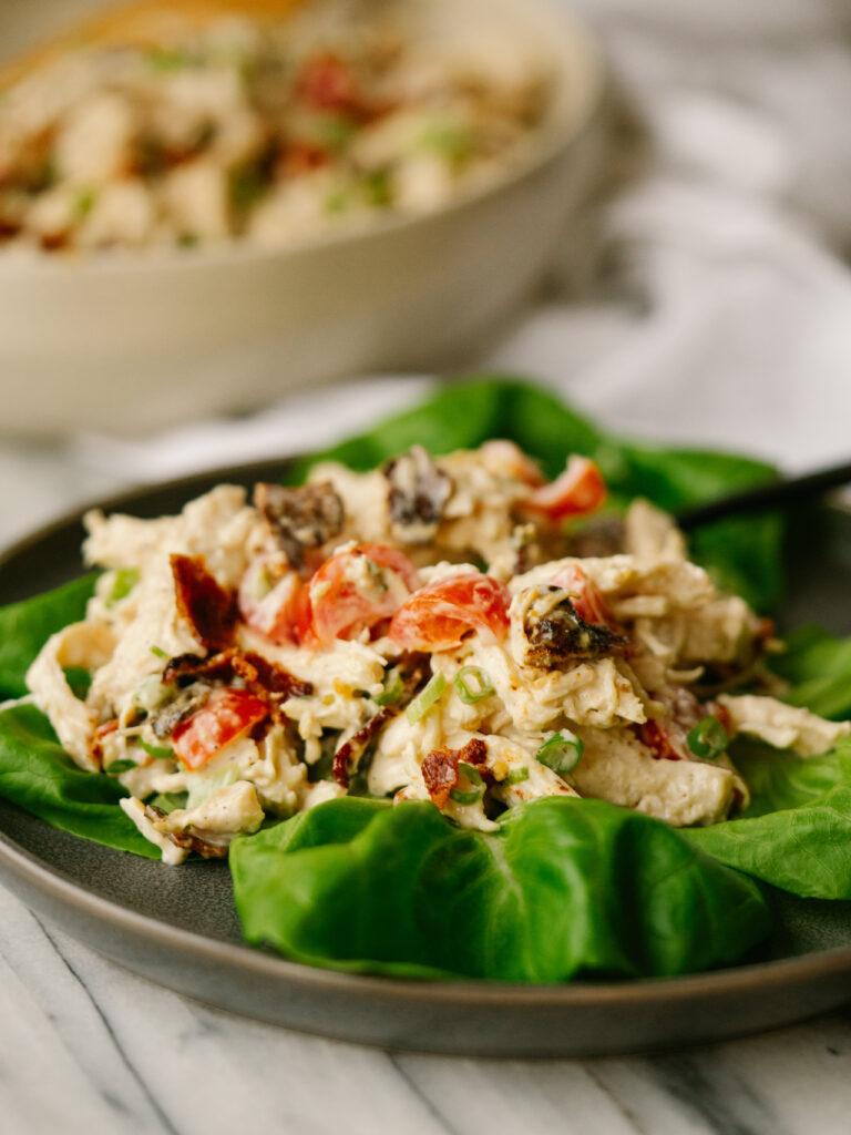 BLT chicken salad on lettuce