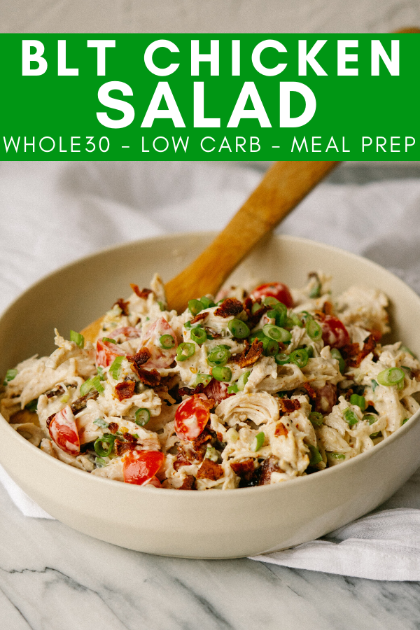 BLT chicken salad image with text for pinterest