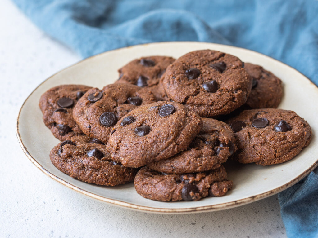 plate of chocolate chip mocha cookies