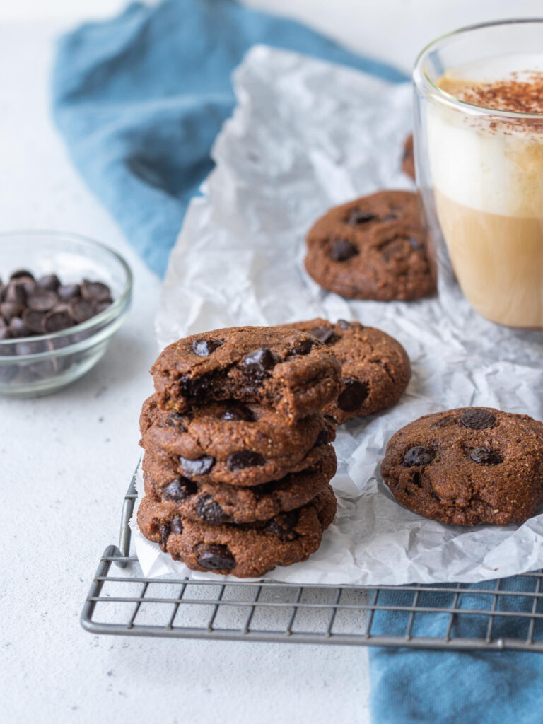 stack of cookies with a bite out