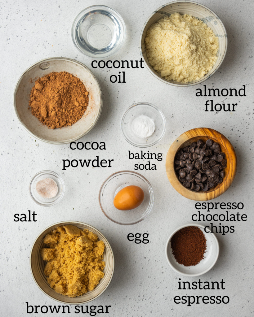 ingredients for mocha almond flour chocolate chip cookies