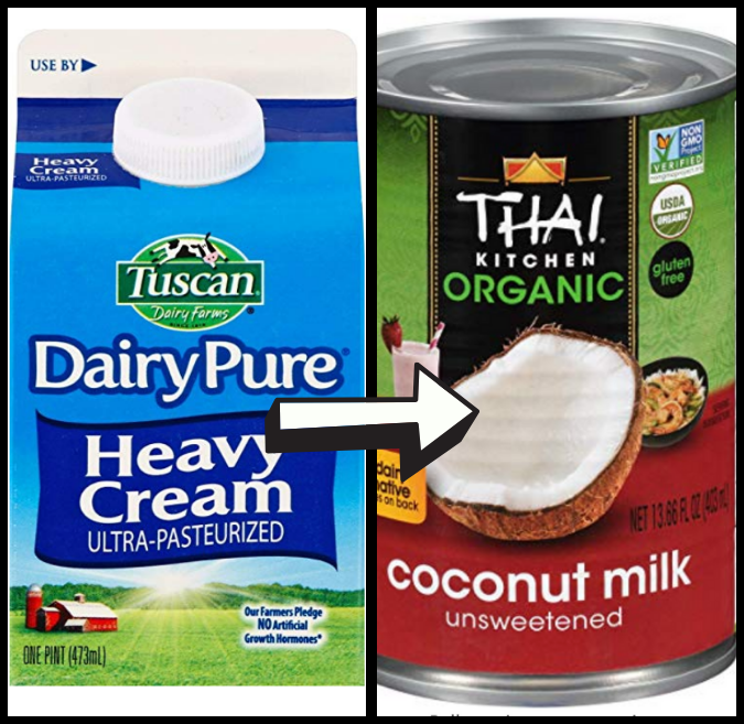 heavy cream and full fat coconut milk