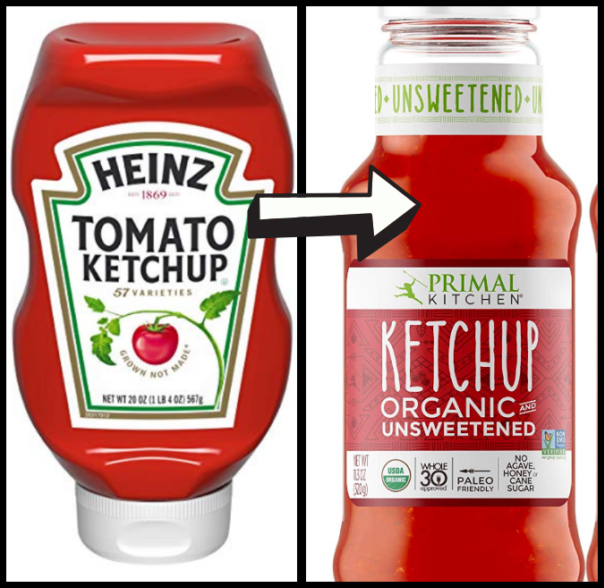 Heinz Ketchup and Primal Kitchen ketchup
