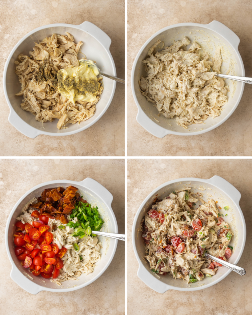 step by step pictures for mixing together this BLT chicken salad