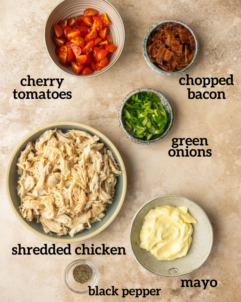 ingredients for a healthy whole30 chicken salad