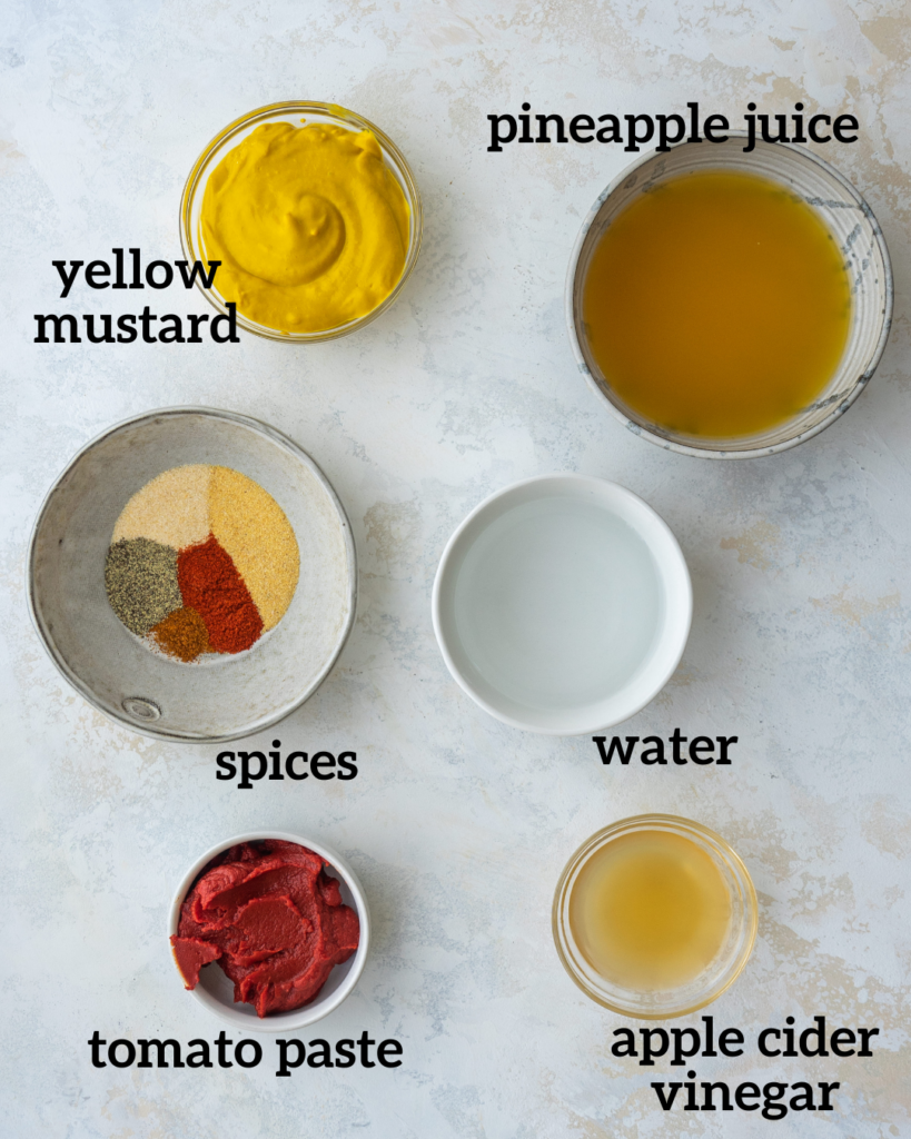 Above view of ingredients for carolina gold sauce