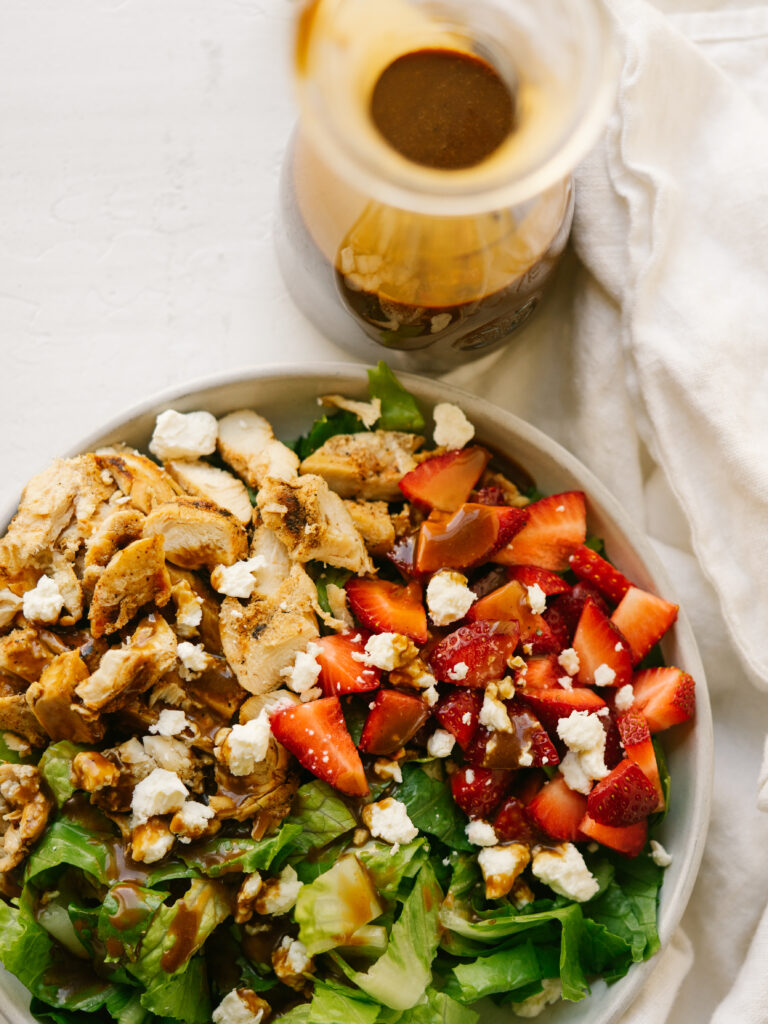 above view of a salad with balsamic vinaigrette