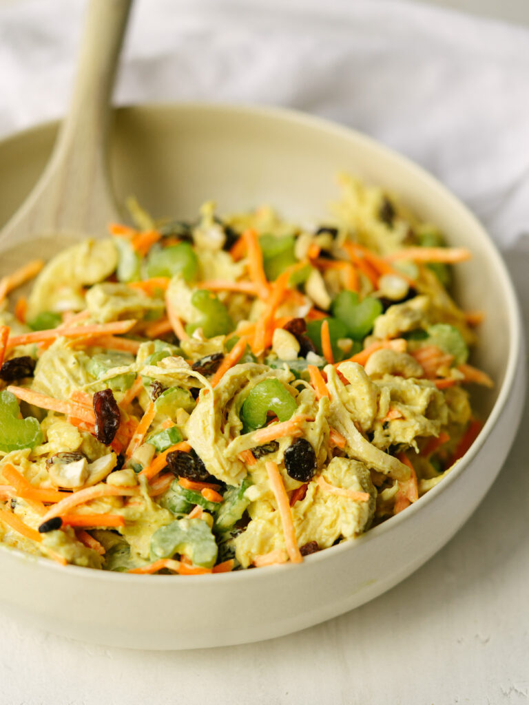 half bowl of curry chicken salad recipe