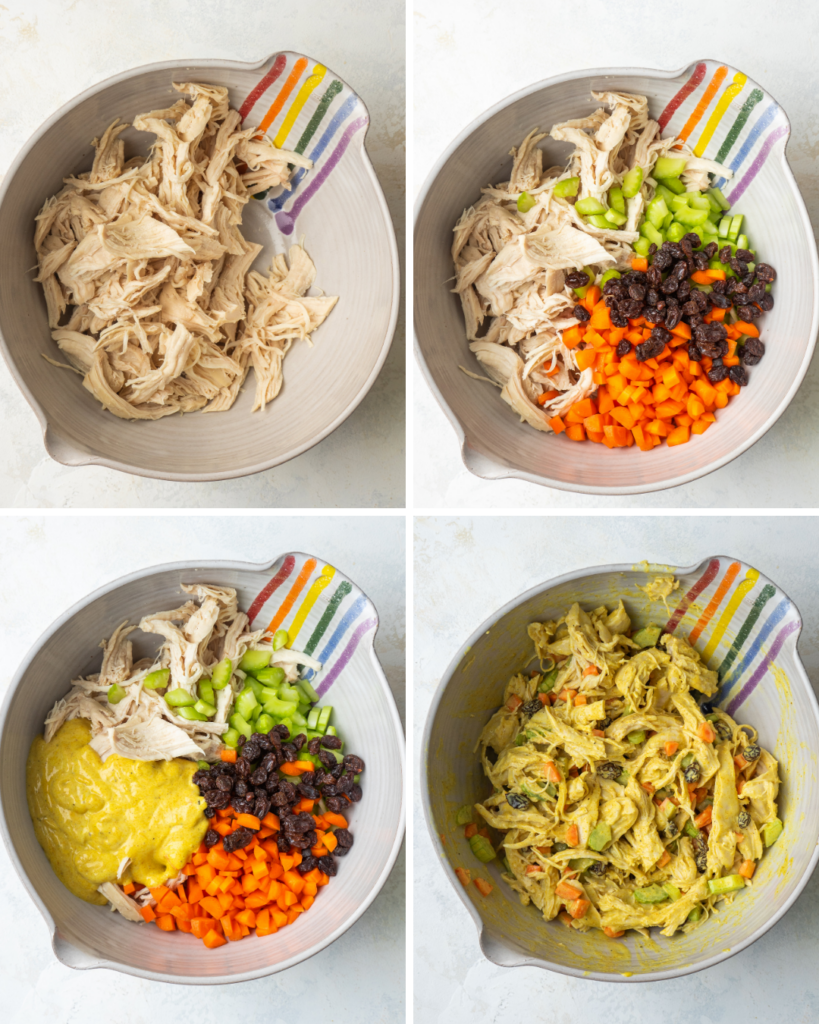 Above view of stew by step instructions for making curry chicken salad