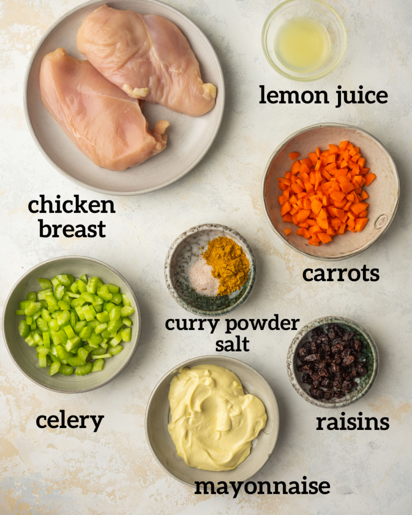 Above view of ingredients for curry chicken salad