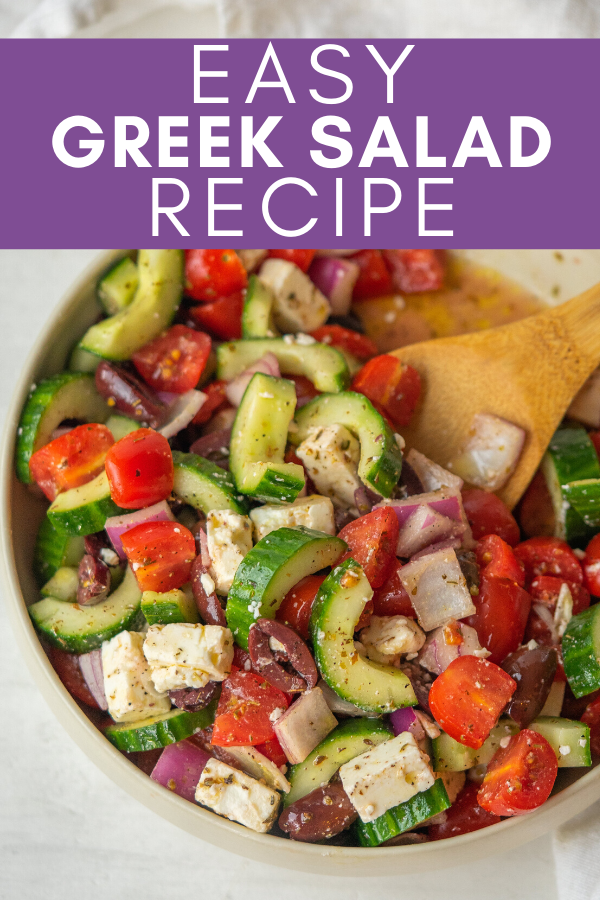 easy greek salad recipe pinterest image