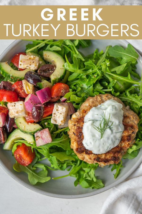 Greek turkey burgers recipe pinterest image