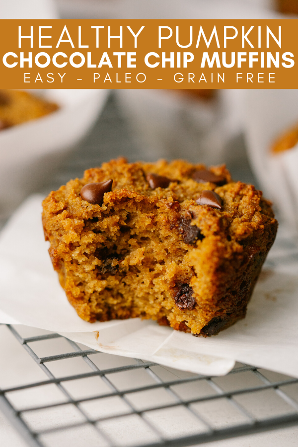 Image for pinning healthy pumpkin chocolate chip muffins recipe on pinterest