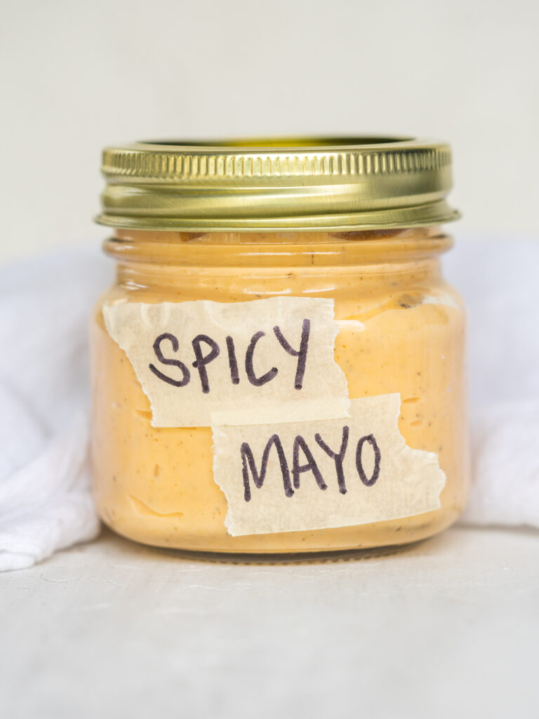 jar of spicy mayo with a label that says spicy mayo