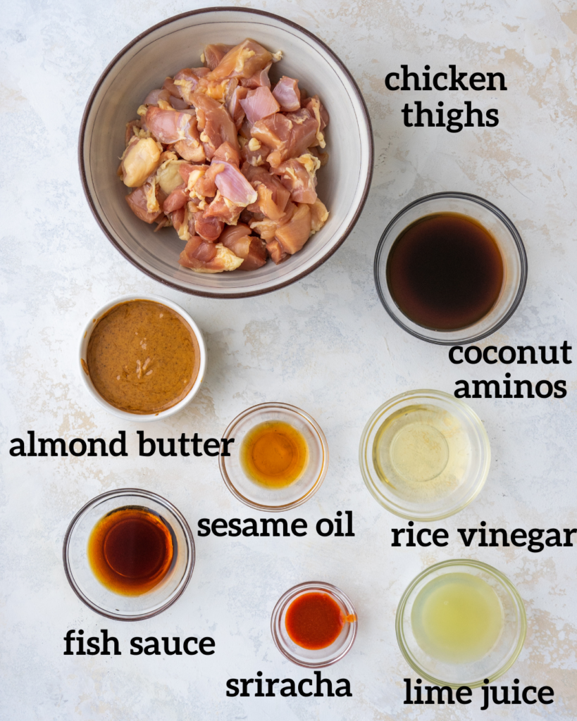 Above view of ingredients for almond butter chicken satay