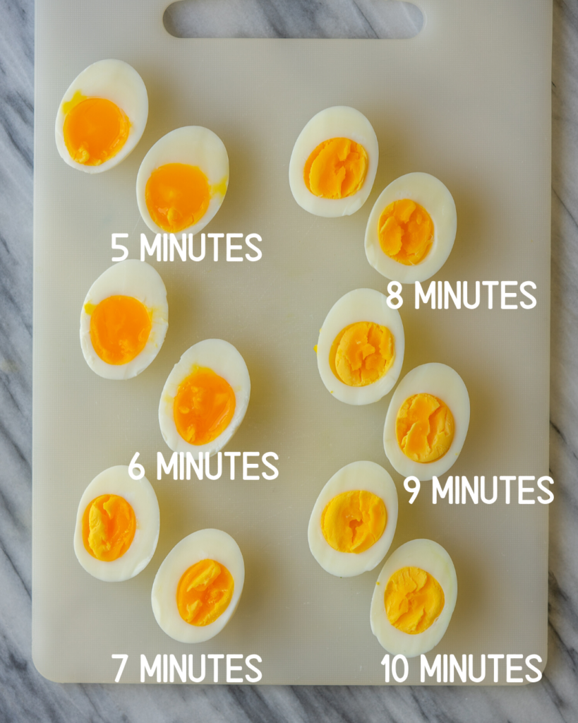 overhead view of hard boiled eggs showing how long you cook hard boiled eggs depending on how you want the yolk
