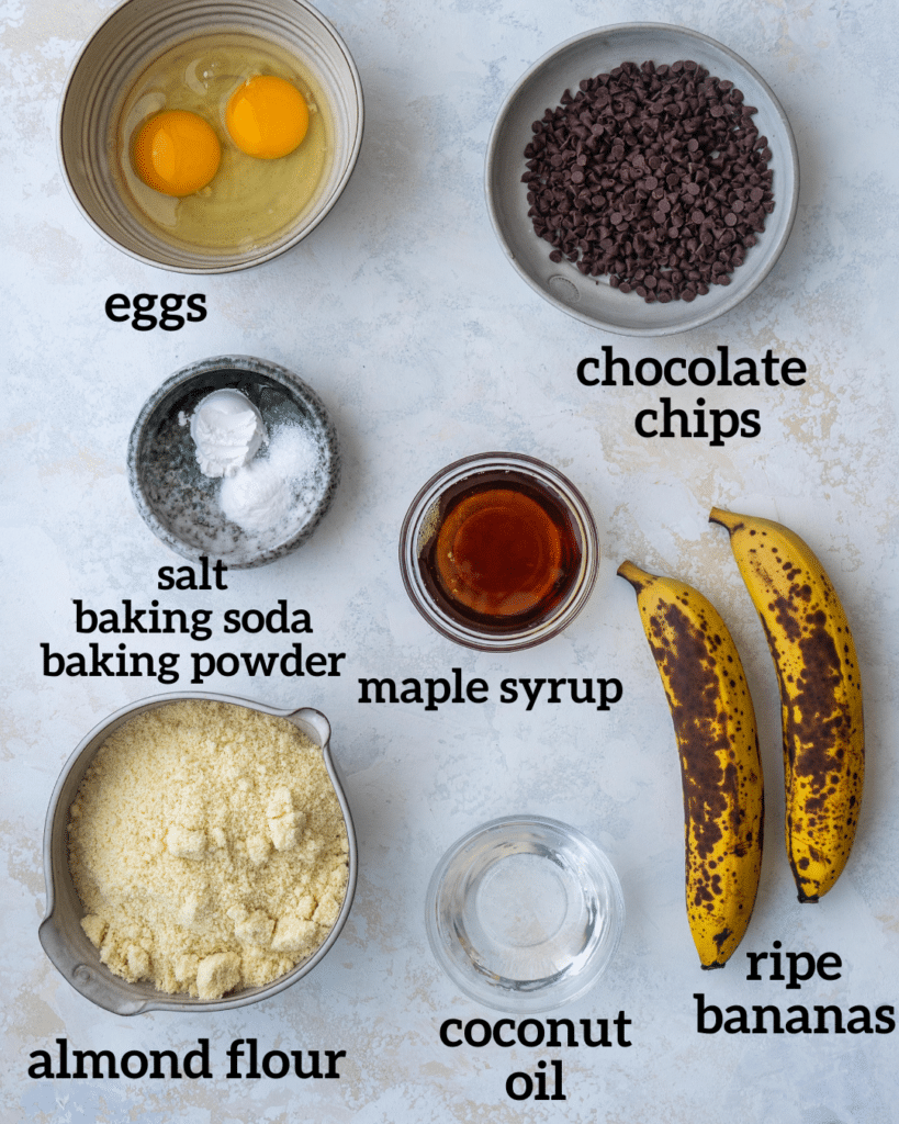 Above view of ingredients for mini banana muffins