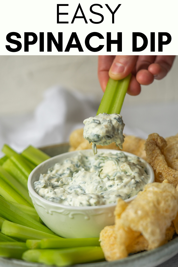Image for pinning Easy Spinach Dip recipe on Pinterest