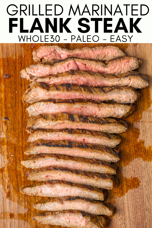 Image for pinning grilled marinated flank steak on pinterest.