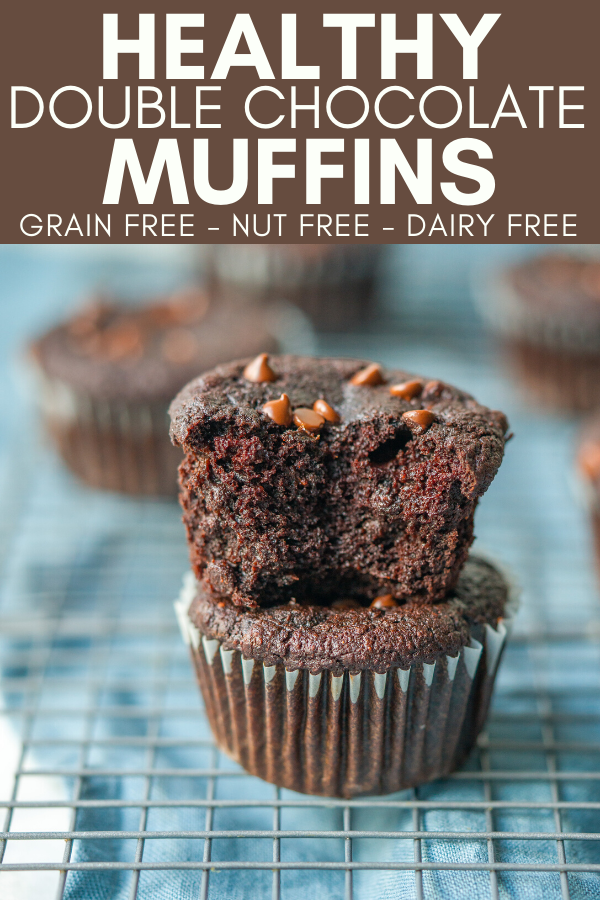 pinterest image for healthy double chocolate muffins
