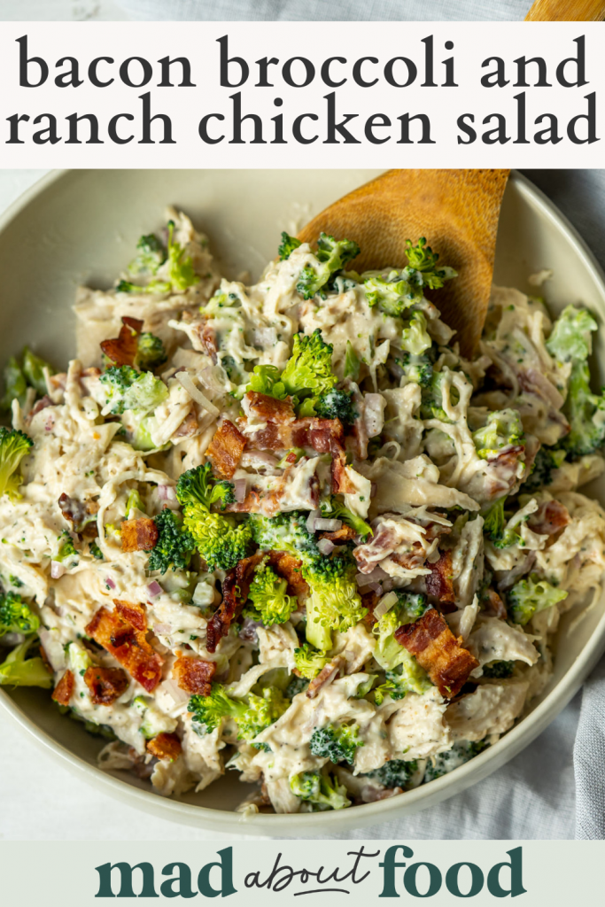 Image for pinning Bacon Broccoli and Ranch Chicken Salad on Pinterest