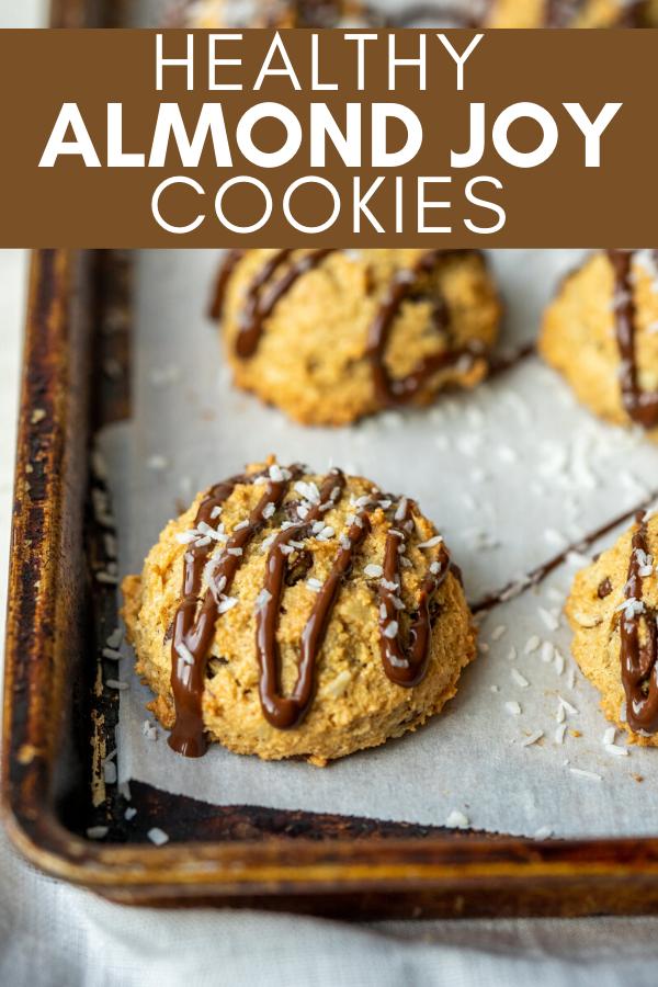 pinterest image for almond joy cookies recipe