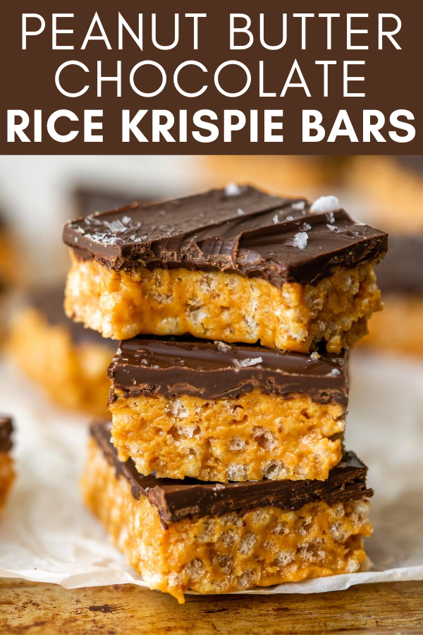 Image for pinning Peanut Butter Chocolate Rice Krispie Bars on Pinterest