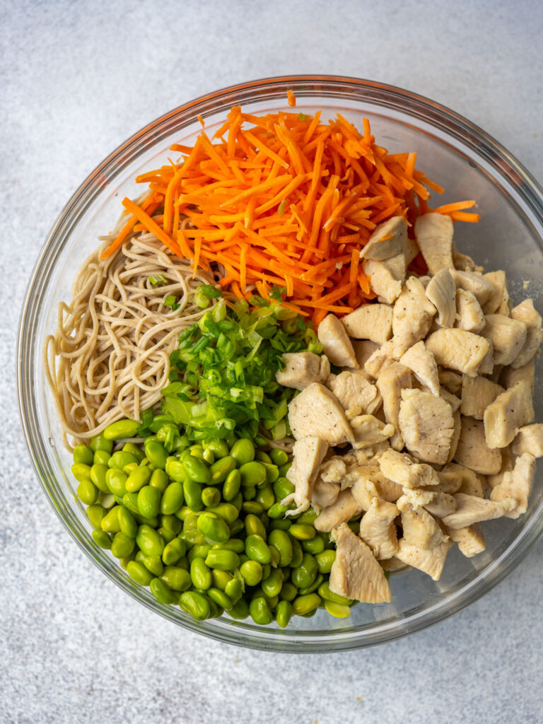 Ingredients in a bowl above view