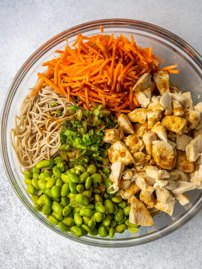 Sesame sauce over soba noodles