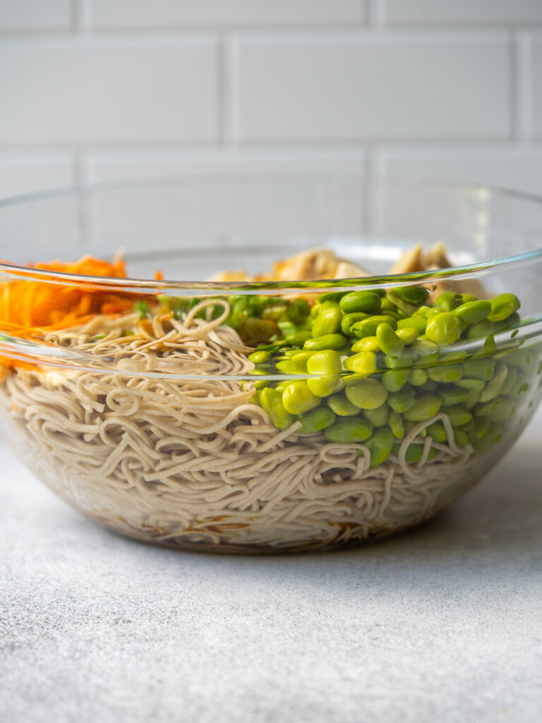 Side view bowl of soba noodles