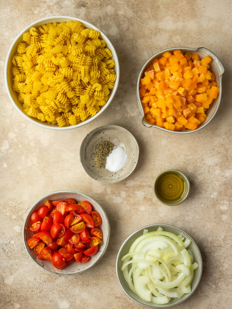 Above view of ingredients for butternut squash pasta sauce