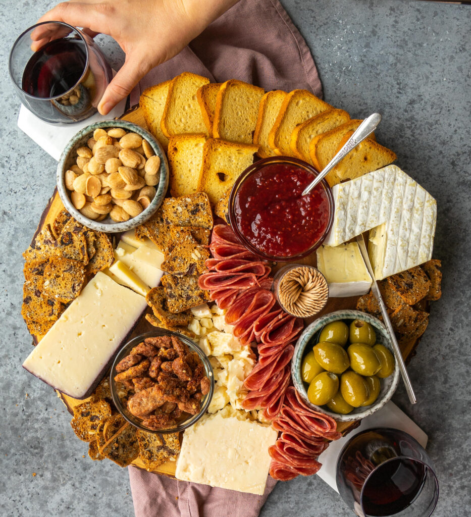 Above view of a trader joe's charcuterie board made with trader joe's holiday items